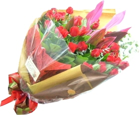真紅のバラの花束